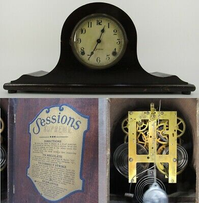 """ANTIQUE MANTEL CLOCK wood 8-day chime SESSIONS """"SUPREME"""" enamel face WORKS!"""