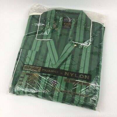 Vintage St Michael M&S Mens Green Nylon Striped Piped Edge Pyjamas New - Size S