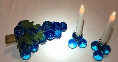 Lucite Grapes Cluster Blue Candle Holders Vintage Driftwood Wire Wrapped MCM C-1