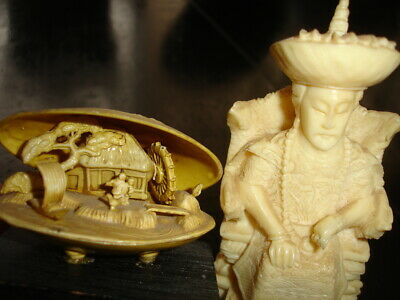old oriental asian celluloid Netsuke Diorama CLAM + carved resin scrimshaw KING