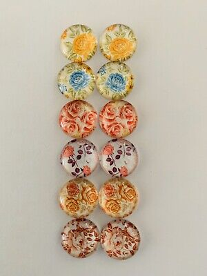 6 Pairs Of 12mm Glass Cabochons #819