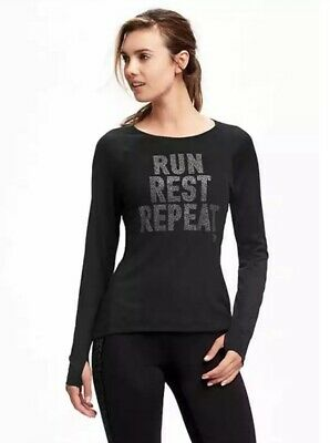 **EUC** Old Navy Go-Dry Performance Graphic Long Sleeve Top For Women Size Large