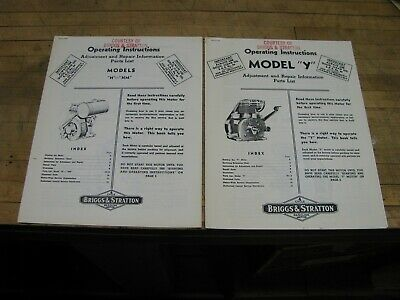 2 Briggs & Stratton Operating Instructions For Models H-Hm & Y In Orig Envelope
