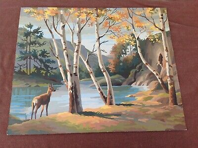 Vintage Paint By Numbers Painting, Doe in The Woods By A Lake