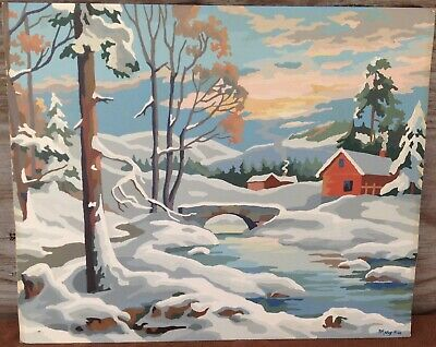 Vintage Paint By Numbers Painting, Country House in Winter