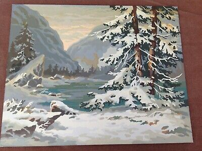 Vintage Paint By Numbers Painting, Snowy Mountain Lake