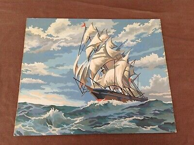 Vintage Paint By Numbers Painting, Clipper Ship At Sea