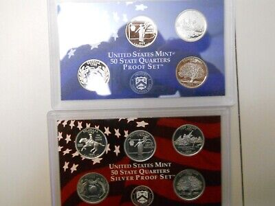 1999-S PROOF CLAD AND SILVER QUARTER SETS. NO BOXES OR COAs.