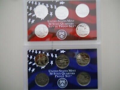 2001-S PROOF CLAD AND SILVER QUARTER SETS. NO BOXES OR COAs.  ####