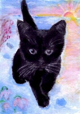 BCB Tuxedo Cat With a Heart Valentine Print of Painting ACEO 2.5 x 3.5 Inches