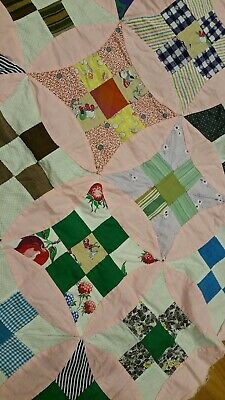 Retro Pink Improved 9 Patch Quilt Top