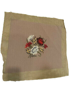 "VINTAGE 1940'S FRENCH FLORAL  NEEDLE POINT 16""x19"" Pillow Or Chair"