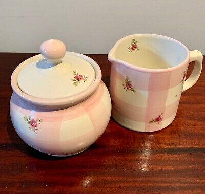Robert Gordon Collectable Gingham and Roses Sugar Bowl & Creamer