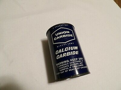 Miners Lamp Calcium Carbide 1/2 Full 2 lb Can by Union Carbide, N.Y.