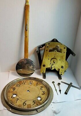 Antique International Time Recorder Wall Clock Parts Movement Hands Weight Face