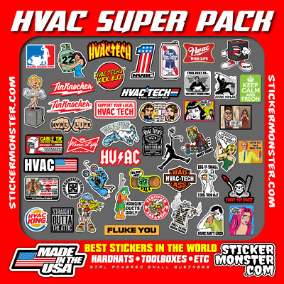 HVAC TECH (45+) Hard Hat Stickers HardHat Sticker & Decals, Heating & Air, HVACR