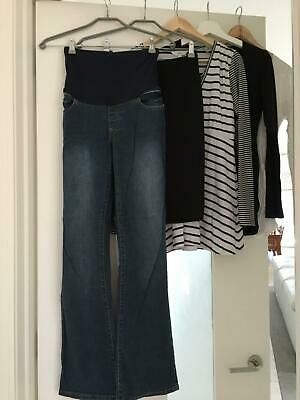 Ripe maternity clothing - black white tops, black pencil skirt jeans size medium