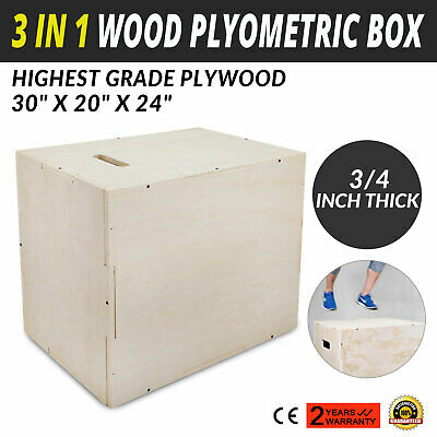 "3 in 1 Wood Plyometric Box for Jump 30""24""20"" Training and Conditioning Durable"