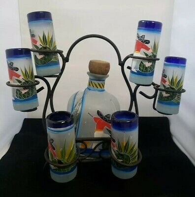 Vtg Tequila  Decanter  6 Shot Glasses Iron Caddy Handblown Handpainted Mexico