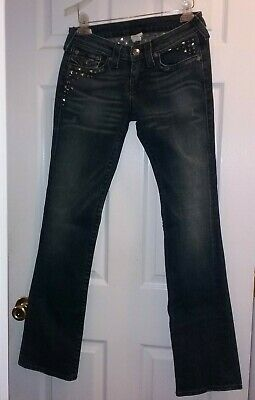 True Religion Billy Embellished Jeans Studs Crystals Distressed Women's Size 29