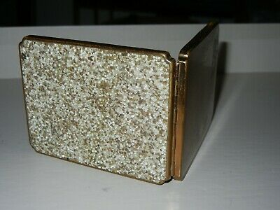 Vintage Compact Textured Surface Goldtone Mirror & Empty Face Powder Compartment