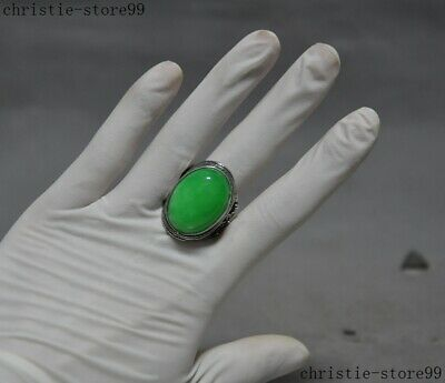 Antique old Chinese Dynasty Tibetan Silver Inlay green Old Jade Gem Jewelry Ring