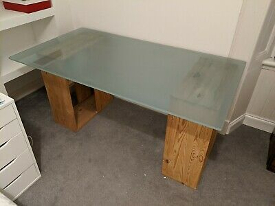 Ikea Glass Top Desk/Table with Trestle Supports with integral shelves