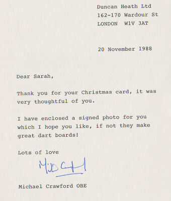 Michael Crawford typed letter signed 1988 UACC rd retirement sale