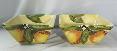Pier 1 NEW with Tags Lot of 2 Lemon Orchard Square Cereal Soup Bowls ~ MINT