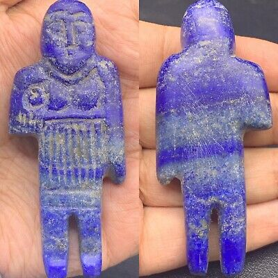 300 BC South Asia Ancient Backtrian King  lapis lazuli Stone Statue #101