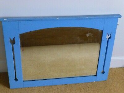 Blue wooden painted arts & crafts style large mirror Vintage retro upcycle.