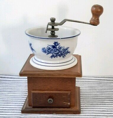 Vintage Coffee Grinder Wooden Base And Ceramic Blue And White Bowl Crank Handle