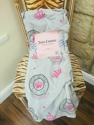 New Juicy Couture Pink & Grey Famous Crown Logo Design Throw