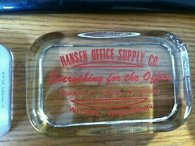 Hansen Office Supply Co Withee Wisconsin Glass Advertising Paperweight