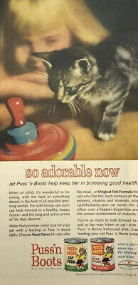 Puss N Boots Kitten Cat Food Magazine Print Ad Vintage 1963 Pets Animals Top Toy