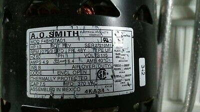AO Smith blower motor Model F48H07A01 HP 1/3 RPM 1075/3 V 115 Ph1 HZ60