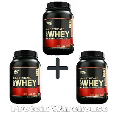 Optimum Nutrition Gold Standard Whey Protein 100% ON 3 x 2lb 2.7kg  Strawberry