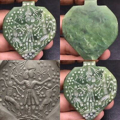 Unique Near Eastern Wonderful Old stone Jade Seal king Stone amulet Pendant