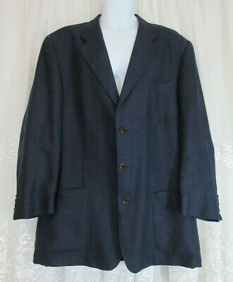 Mens Polo University Club Ralph Lauren Linen Blazer 44L Navy Blue Suit Jacket