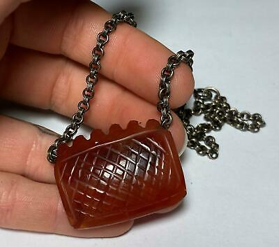 VTG Sterling Silver Carved Chinese Carnelian Agate Necklace Chain Charm Pendant