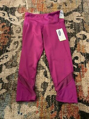 New Purple Girls old navy Active Crop Mid Rise Go-Dry Leggings size L10-12
