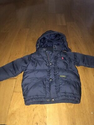 Boys's Polo by Ralph Lauren Navy Padded Hooded Jacket Puffer Puffa Coat Age 2