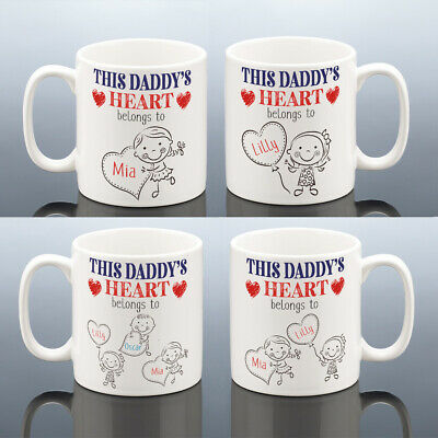 DADDY HEART BELONGS MUG New Dad Birthday Gift Personalised Daddy Cup Present