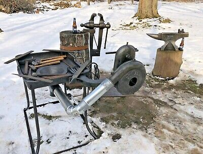 Vintage Blacksmith Tools 196 lb.Brooks Anvil,95 lb.Columbian Leg vise,Hammers NR