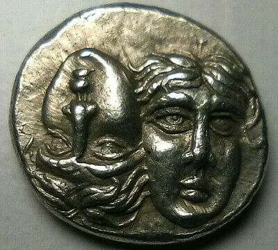 Greek Inverted Male Heads 350 BC. Drachm Eagle Dolphin Istros Thrace Silver Coin