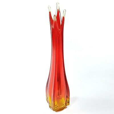 "15"" Square Amberina 4-Point Swung Long Stem Vase Red Orange Yellow Glass"