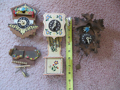Lot of Three Small Vintage Cuckoo Clock Parts  for Parts or Repair