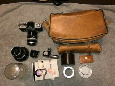 Nikon F Photomic Camera W/Nikkor 50mm & 55mm Lens flash & attachments, manual