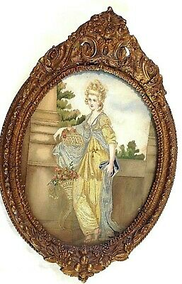 Antique Victorian needlepoint silk embroidery embroidered picture classical