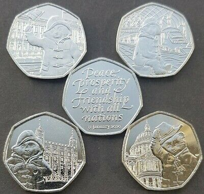 All 4 Paddington Bear 50P Coins Inc At The Station Plus 2020 Brexit 50P  Coin.